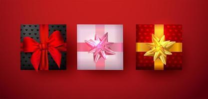 confezione regalo da utilizzare su banner o biglietto di auguri per San Valentino con fiocco e nastro. vettore