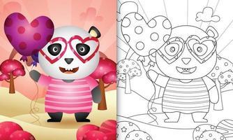 libro da colorare per bambini con un simpatico panda che tiene un palloncino per San Valentino vettore