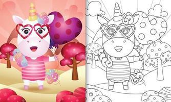 libro da colorare per bambini con un simpatico unicorno con palloncino per San Valentino vettore