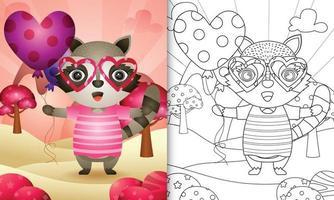 libro da colorare per bambini con un simpatico procione che tiene un palloncino per San Valentino vettore