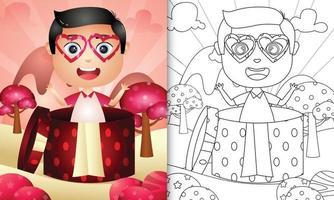 libro da colorare per bambini con un ragazzo carino nella confezione regalo per San Valentino vettore