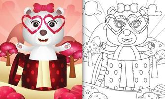 libro da colorare per bambini con un simpatico orso polare nella confezione regalo per San Valentino vettore