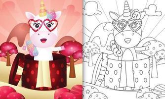 libro da colorare per bambini con un grazioso unicorno nella confezione regalo per San Valentino vettore