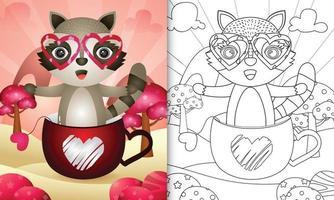 libro da colorare per bambini con un simpatico procione nella tazza per San Valentino vettore