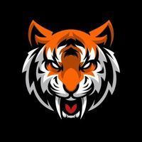 mascotte testa di tigre arrabbiata vettore