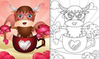 libro da colorare per bambini con un simpatico bufalo nella tazza per San Valentino vettore