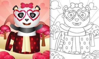 libro da colorare per bambini con un simpatico panda nella confezione regalo per San Valentino vettore