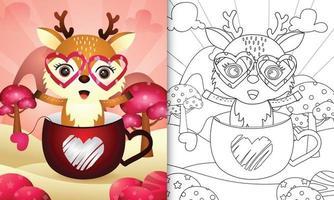 libro da colorare per bambini con un simpatico cervo nella tazza per San Valentino vettore