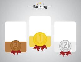 infografica con oro, argento e rame come numero 1, 2, 3 vettore