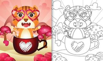 libro da colorare per bambini con una tigre carina nella tazza per San Valentino