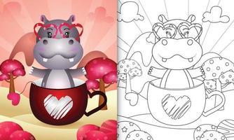 libro da colorare per bambini con un simpatico ippopotamo nella tazza per San Valentino vettore