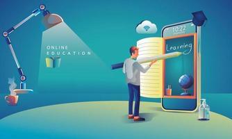 applicazione di istruzione online che apprende in tutto il mondo sul telefono, sullo sfondo del sito Web mobile. concetto di distanza sociale. il corso di formazione in aula, design piatto di illustrazione vettoriale biblioteca