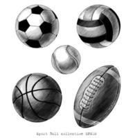 collezione di palline sportive arte in bianco e nero stile vinatge disegnato a mano isolato su sfondo bianco vettore