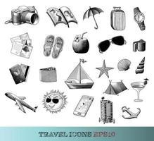 Le icone di viaggio hanno messo l'arte in bianco e nero di stile dell'annata del disegno della mano isolata su fondo bianco vettore