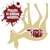 campagna per smettere di usare la plastica per gli animali e l'ambiente. vettore
