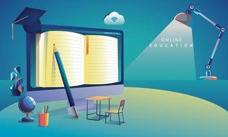 applicazione di istruzione online che apprende in tutto il mondo sul computer, sullo sfondo del sito Web mobile. concetto di distanza sociale. il corso di formazione in aula, illustrazione vettoriale libreria piatta