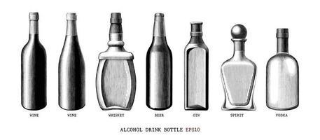 collezione di bottiglie di bevande alcoliche disegnate a mano in stile vintage arte in bianco e nero isolato su sfondo bianco vettore