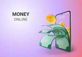 Risparmio digitale di denaro online e spazio vuoto sul telefono, salvataggio in background del sito Web mobile o deposito nel concetto di distanza sociale vettore