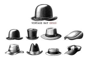 collezione di cappelli vintage disegnati a mano stile di incisione arte in bianco e nero isolato su sfondo bianco vettore