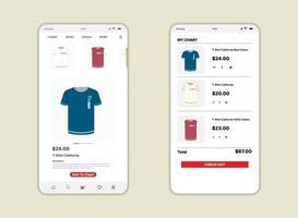 schermata del mercato ui, ux, gui e icona web piatta per app mobili. progettazione di commercio o mercato per app per dispositivi mobili vettore