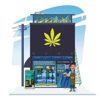 edificio del negozio di cannabis vettore
