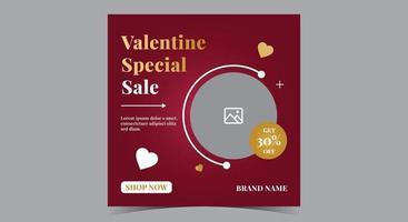 poster di vendita speciale di San Valentino, post sui social media di San Valentino e volantino vettore
