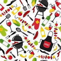 sfondo festa barbecue su sfondo bianco con simboli di barbecue. seamless pattern. vettore