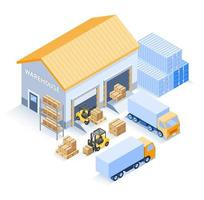 magazzino industriale isometrico vettore