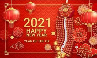 capodanno cinese 2021. petardi con lanterne di carta e fiori su sfondo biglietto di auguri l'anno del bue. illustrazioni vettoriali. vettore