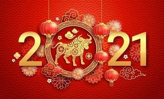 capodanno cinese 2021 biglietto di auguri sfondo l'anno del bue. illustrazioni vettoriali. vettore