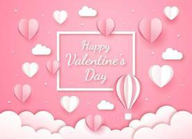 fondo di stile del taglio della carta della carta di San Valentino. vettore