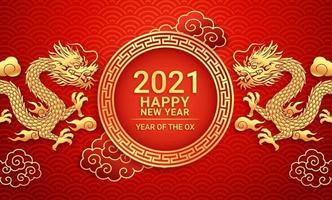 drago d'oro cinese del nuovo anno 2021 su sfondo biglietto di auguri. illustrazioni vettoriali. vettore