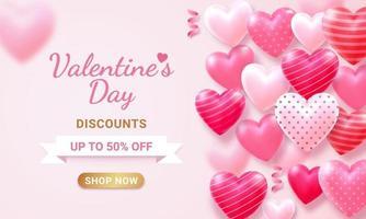 carta di San Valentino con cuore 3d e sfondo del nastro.