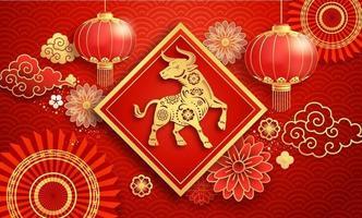 lanterne di carta del capodanno cinese 2021 e fiore sullo sfondo del biglietto di auguri l'anno del bue. illustrazioni vettoriali. vettore