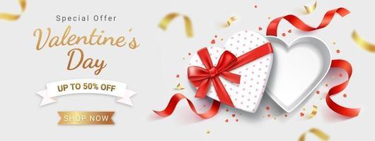 scatola regalo bianca a forma di cuore aperto vuoto con nastro rosso. illustrazioni vettoriali di sfondo carta di San Valentino.