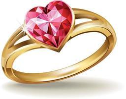 anello in oro con gemma a cuore rosa vettore