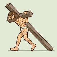 gesù cristo che porta la croce del fumetto grafico vettoriale