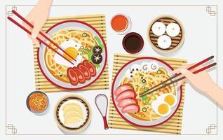 zuppa cinese tradizionale con tagliatelle, zuppa di noodle in ciotola cinese illustrazione vettoriale cibo asiatico