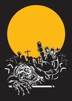 notte di zombie di Halloween. vettore