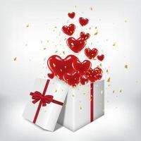 scatola regalo bianca aperta e palloncini cuore rosso galleggiano fuori con sfondo grigio della stanza. concetto di San Valentino puoi come saluto o invito.