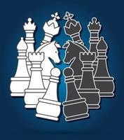 scacchi in bianco e nero vettore