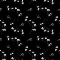 fiori che sbocciano bianchi con libellule su sfondo scuro vettore