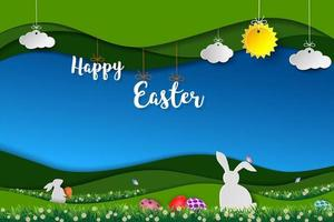 felice disegno di pasqua con conigli bianchi vettore