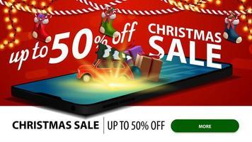 saldi natalizi, fino a 50 sconti, banner sconto moderno per sito Web con smartphone. rosso auto d'epoca che trasportano albero di Natale viene proiettato dallo schermo vettore