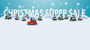 super vendita di natale, modello di sconto con paesaggio invernale dei cartoni animati con auto d'epoca rossa che trasportano albero di natale vettore