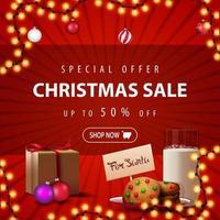 offerta speciale, saldi natalizi, sconti fino a 50, striscione quadrato rosso con ghirlanda, palline di natale, regalo e biscotti con un bicchiere di latte per babbo natale vettore
