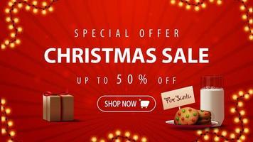 offerta speciale, saldi natalizi, sconti fino a 50, striscione rosso con ghirlanda, regalo e biscotti con un bicchiere di latte per babbo natale vettore