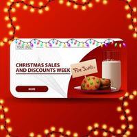 saldi natalizi e settimana di sconti, striscione moderno rosso e bianco con ghirlanda colorata, bottone e biscotti con un bicchiere di latte per babbo natale vettore