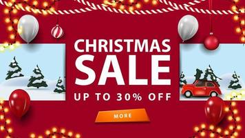 saldi natalizi, sconti fino a 30, banner sconto rosso con ghirlande, bottoni e paesaggio invernale dei cartoni animati vettore