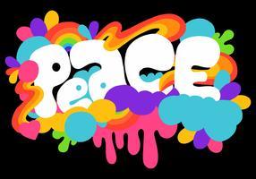 lettering di pace colorato vettore